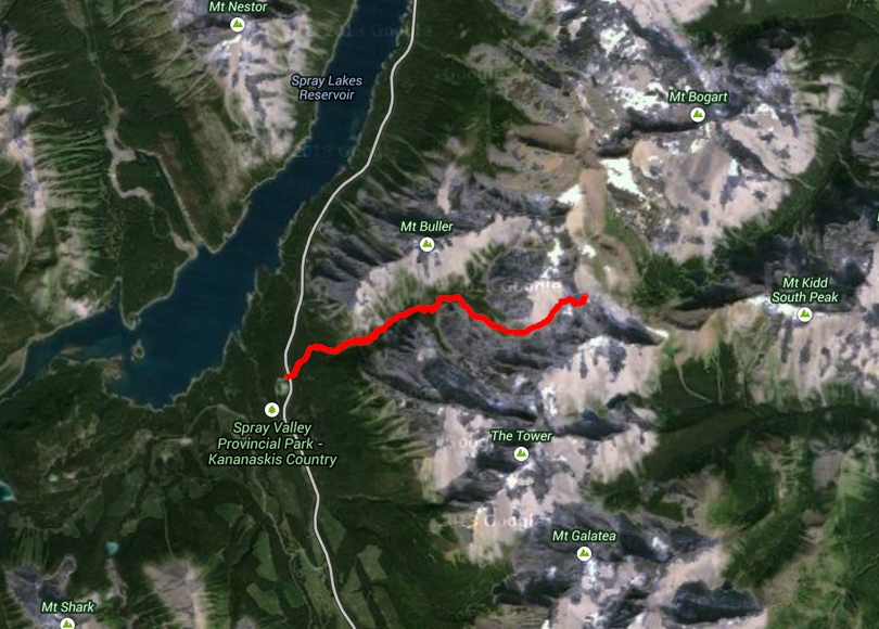 Buller Pass from Spray Lakes Road