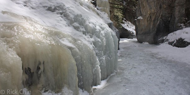 Walking on the ice, Grotto Canyon, Alberta