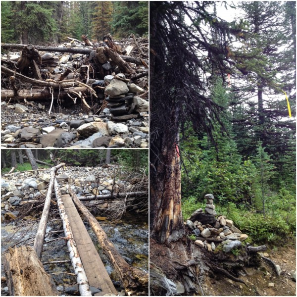 Crossing over Headwall Creek and turning left at the well marked ribbon and cairn