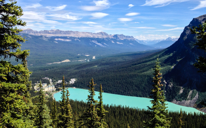 At the Mount St. Piran sign, look back for a gorgeous view of Lake Louise