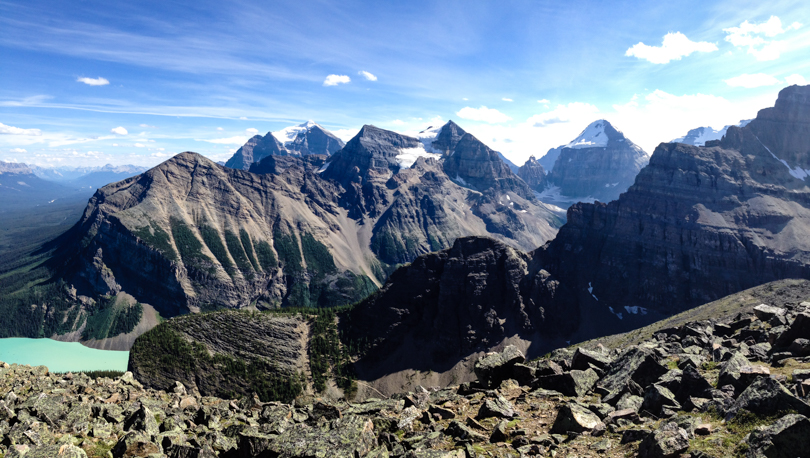 In view (to name a few): Lake Louise, Big Beehive, Mount Fairview and a snow-capped Mount Temple