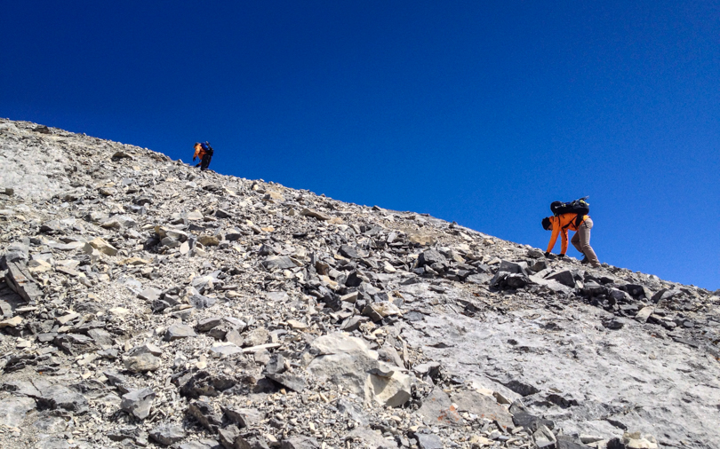 Heading up the scree slopes