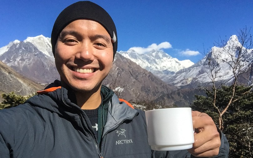 How civilized. Lemon ginger tea with Mount Everest behind me.