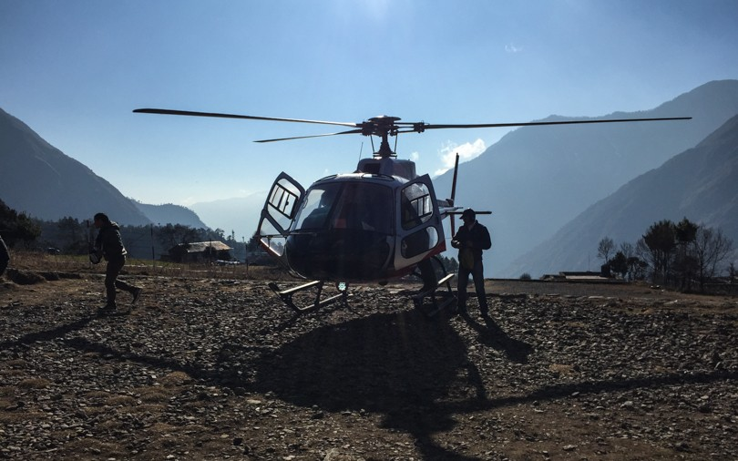 Refuelling in Lukla