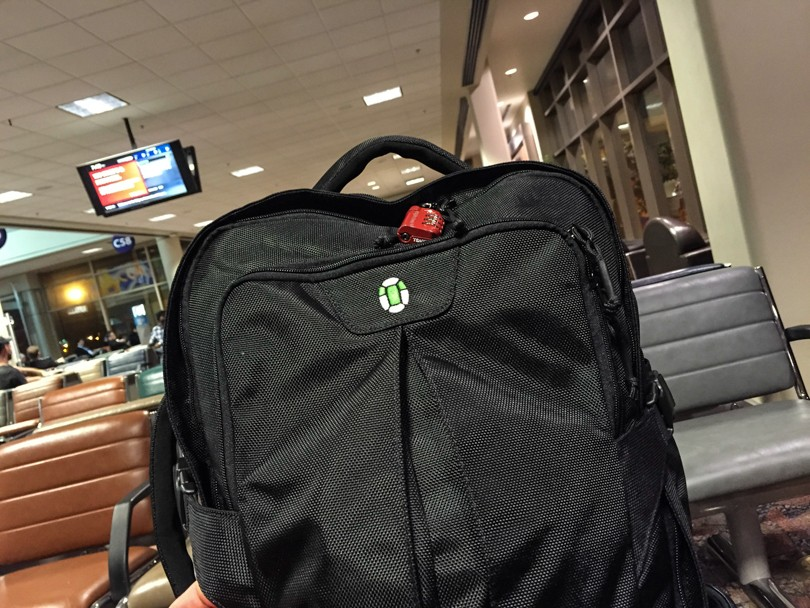 Waiting in the airport, carry-on only style :)