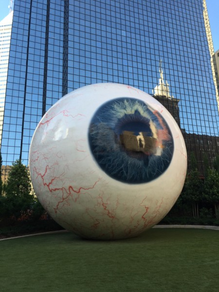 A giant 30-ft tall Eyeball at the Joule Hotel