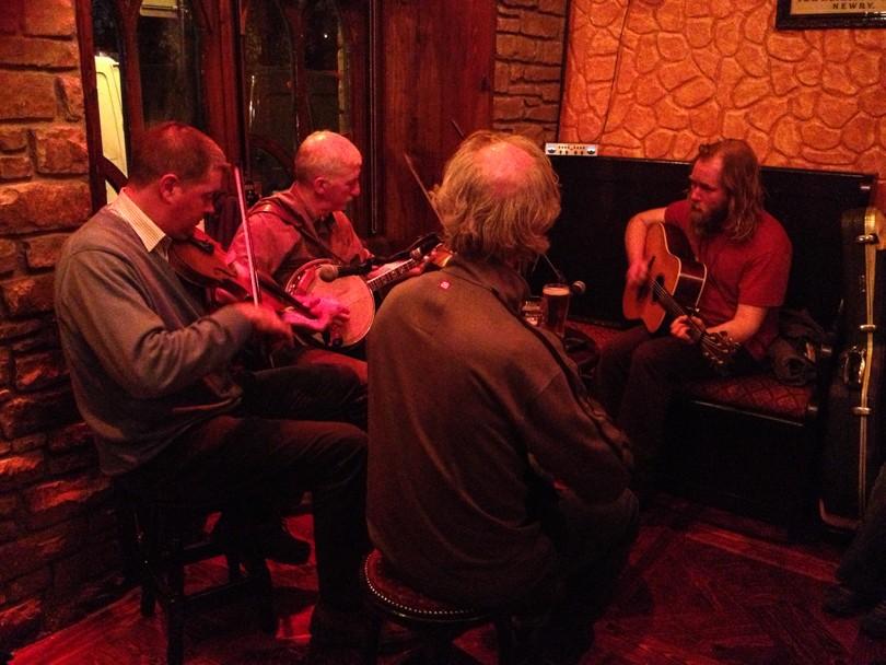 Listening to Irish music in a pub