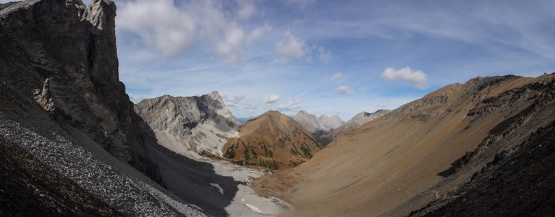 View from Grizzly col. Mount Tyrwhitt on the left; Pocaterra Ridge in the centre