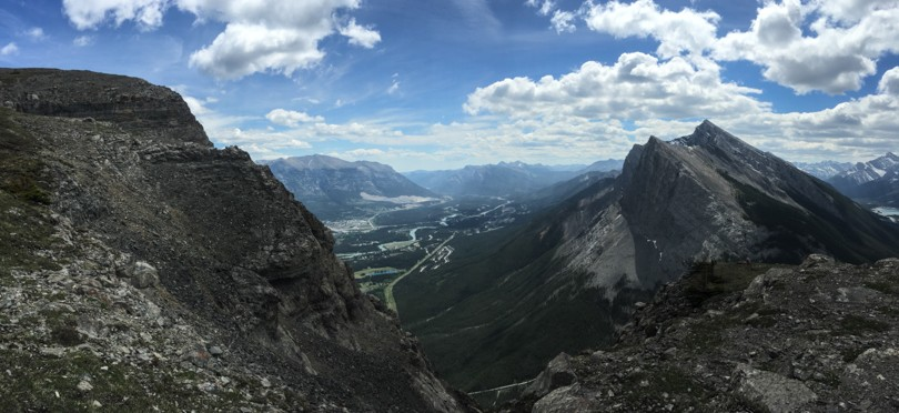 A view of Canmore below from a little more than half way up EEOR