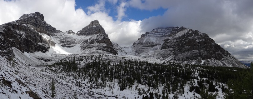 Mount Eiffel, Mount Pinnacle, and cloud covered Mount Temple
