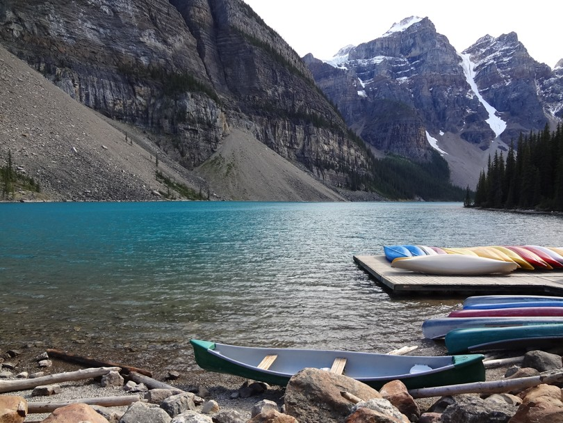 Back at beautiful Moraine Lake after 10 hours of hiking