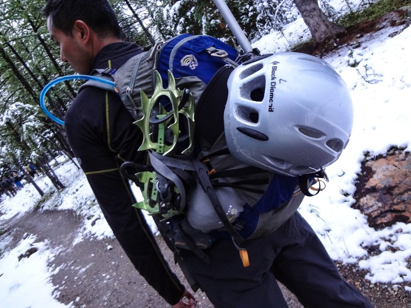 Ready for Temple with a helmet, ice axe and crampons