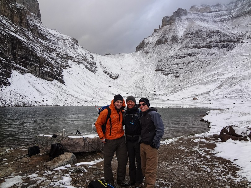 Paul, Dan and I at Eiffel Lake, before Sentinel Pass