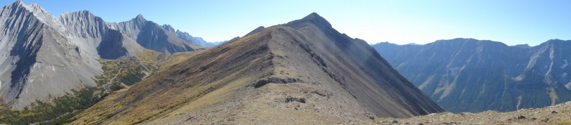 Looking to the summit from the ridge