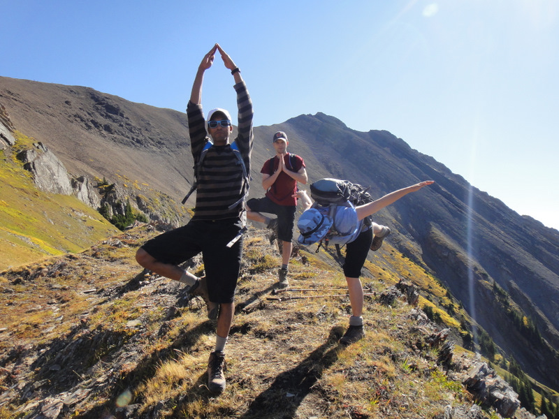 Mountain yoga. Is Adriane falling over??