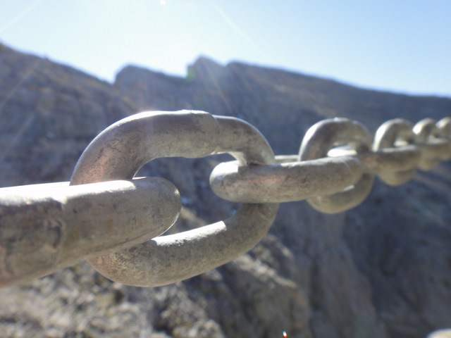 The 'safety' chain on the way to the summit of Yamnuska