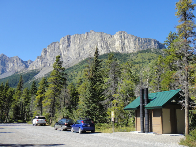 View of Yamnuska from the parking lot
