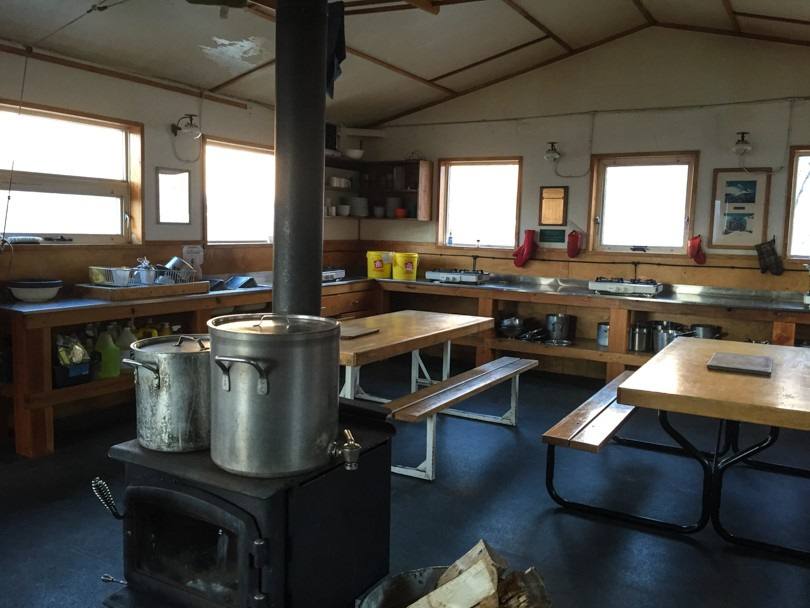 The kitchen in the Bow Hut, operated by the Alpine Club of Canada