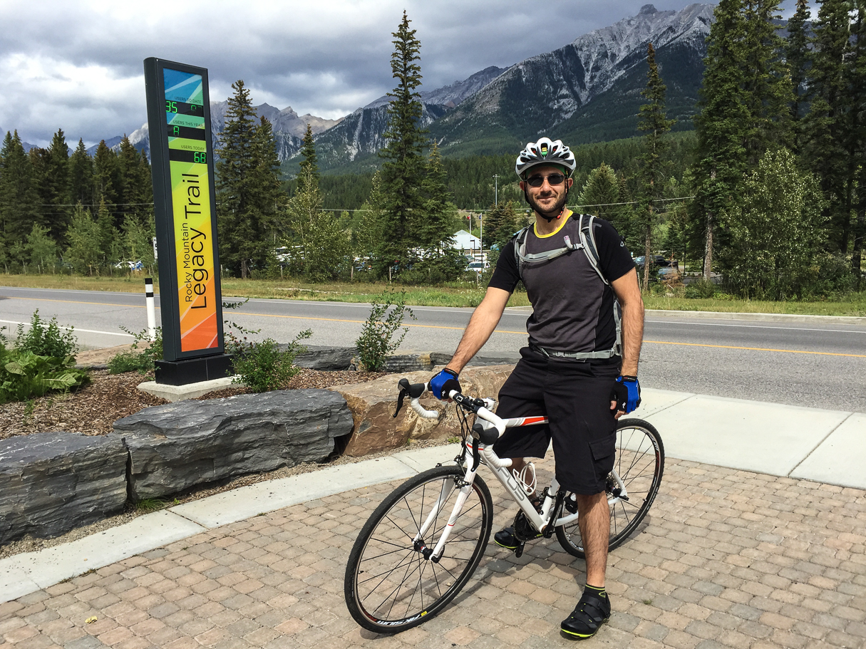 At the start of the trail across the street from the Travel Alberta Information Centre in Canmore