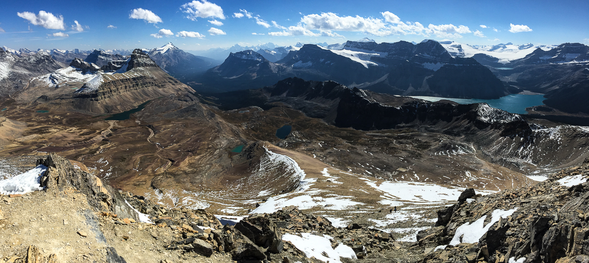Dolomite Peak, Katherine Lake, Helen Lake, Bow Lake and the Wapta Icefields... all in one gorgeous panorama.