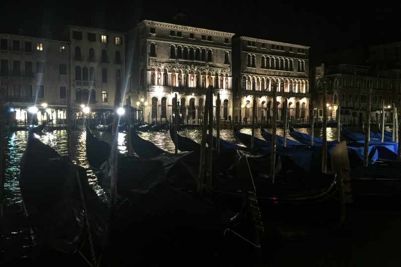 Gondolas along the Grand Canal at night