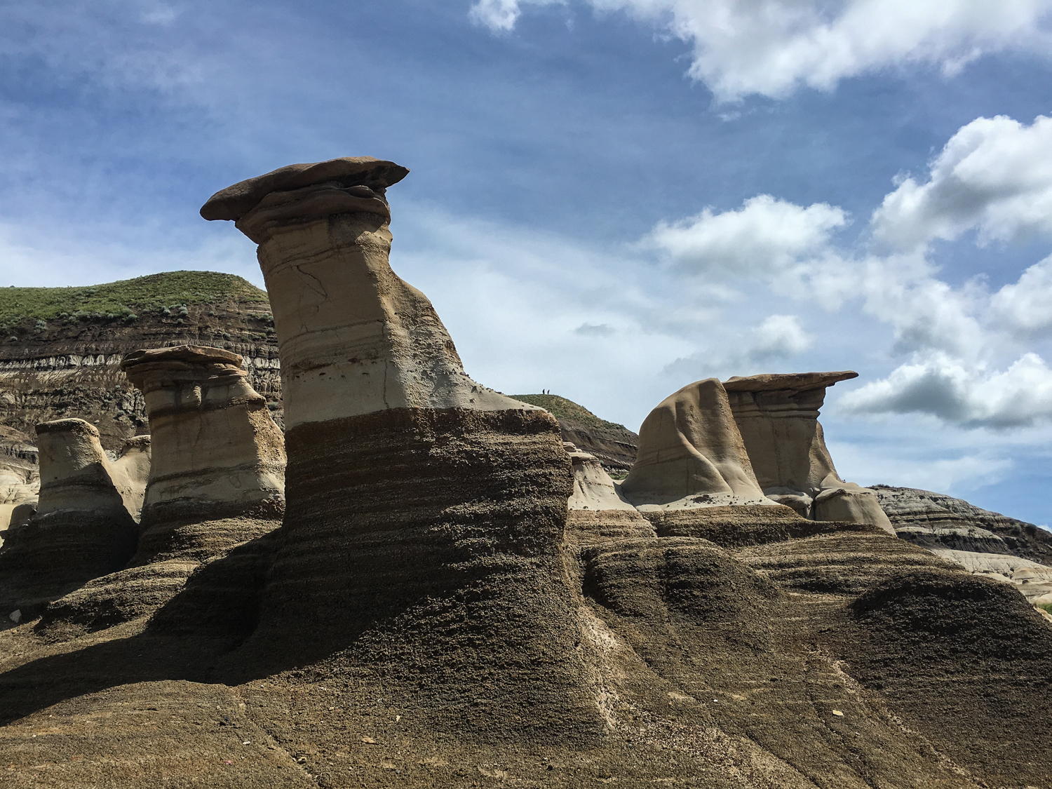 The hoodoos, made of sand and clay. The capstone protects the base, resulting in their awesome formation.